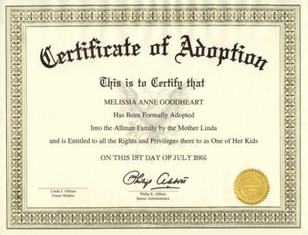 Certificate of Adoption Texas
