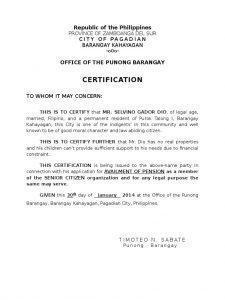 Barangay Certificate of Residence