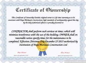 Certificate of Ownership WOW