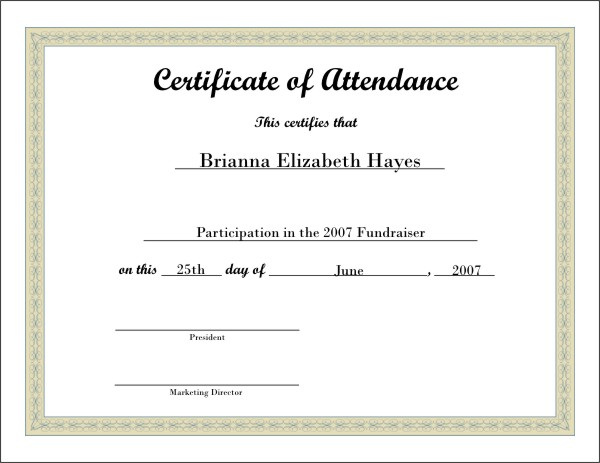 Free Certificate of Attendance Template