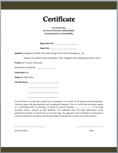 Certificate of Manufacturing Sample