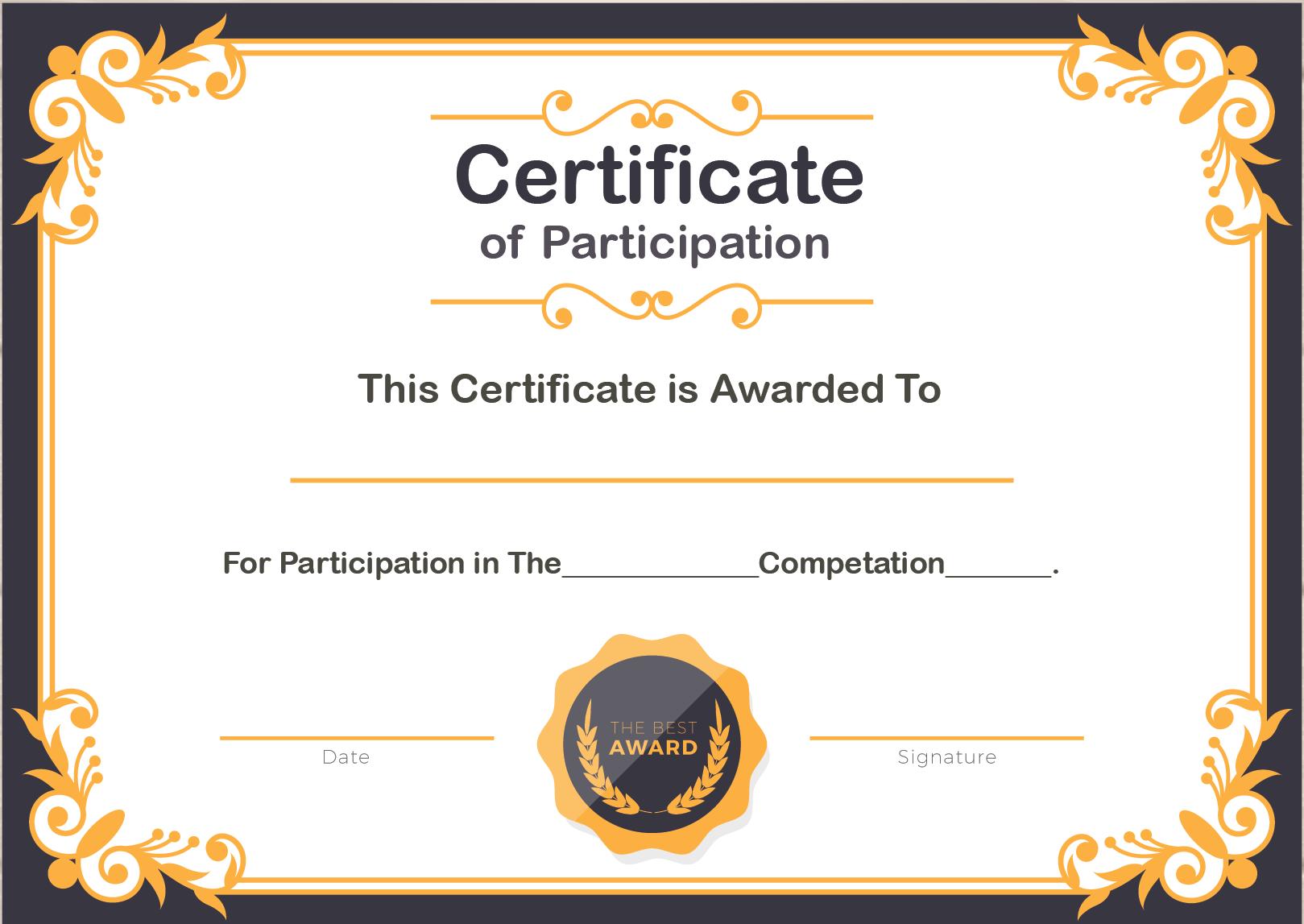 Certification of Participation Format Content