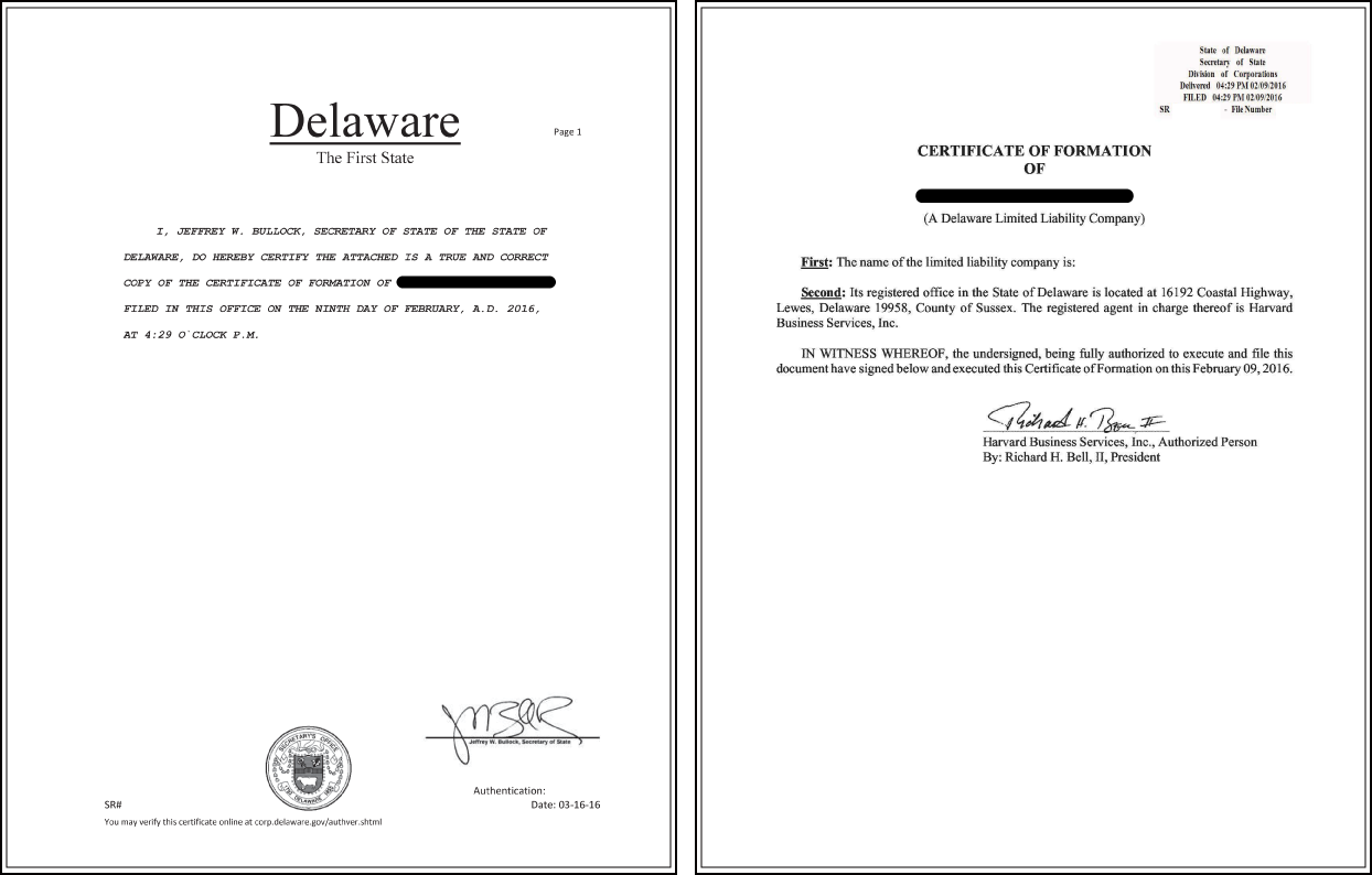 Delaware Certificate of Dissolution