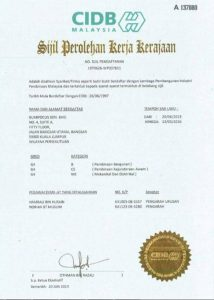 CIDB Certificate of Approval