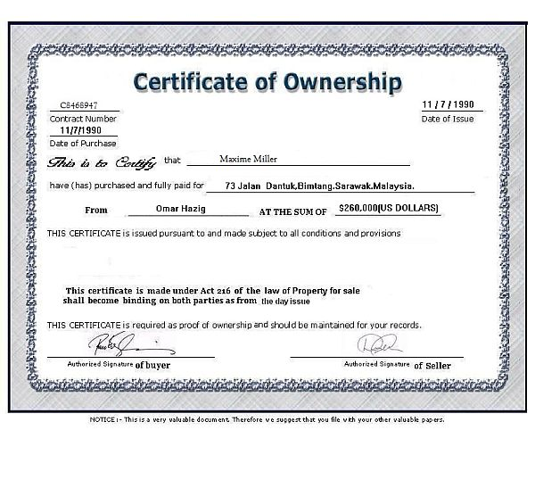Certificate of Ownership in a Corporation
