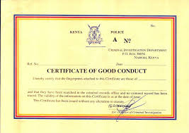 Certificate of Good Conduct Application Form