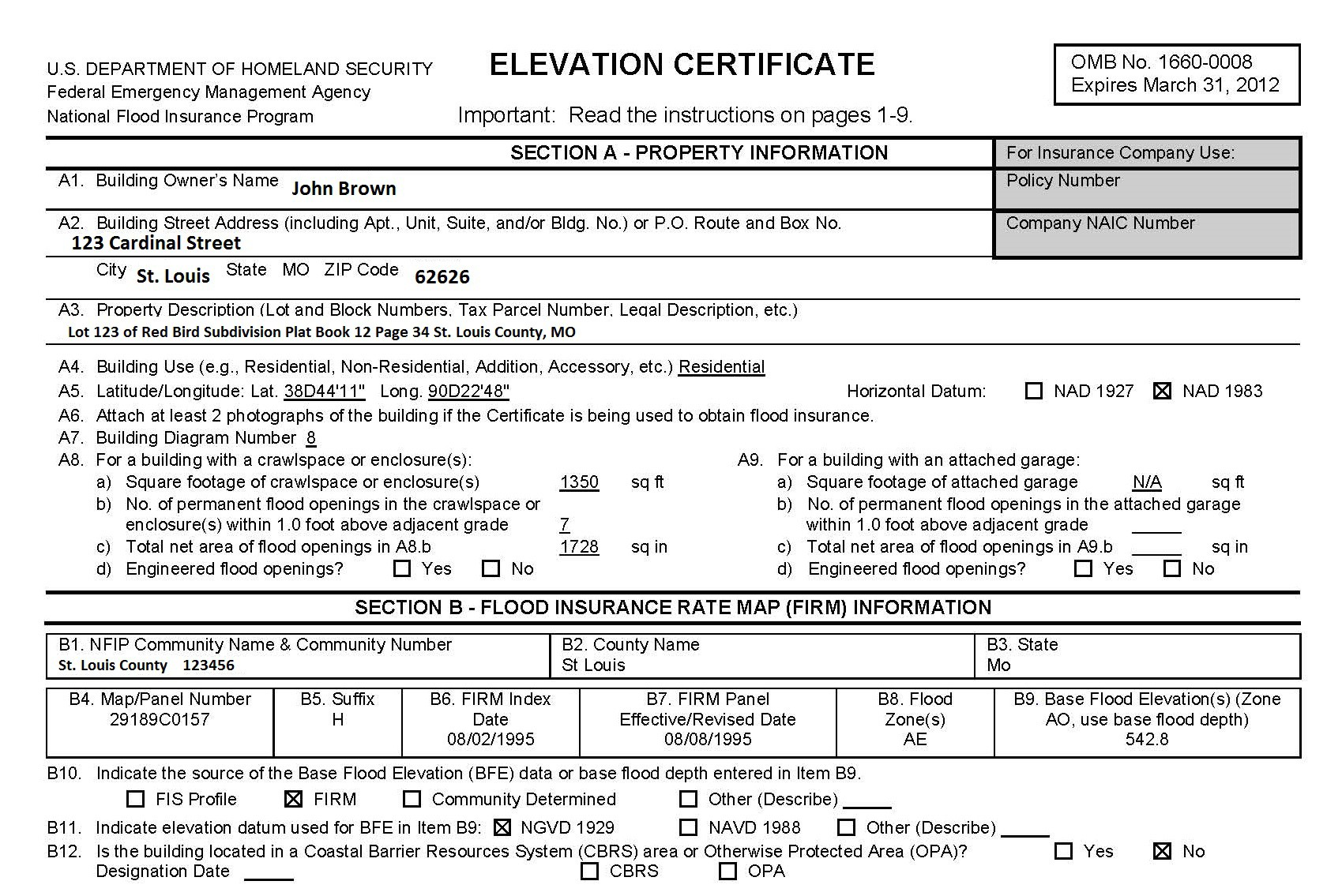 Certificate Of Elevation Certificate Of