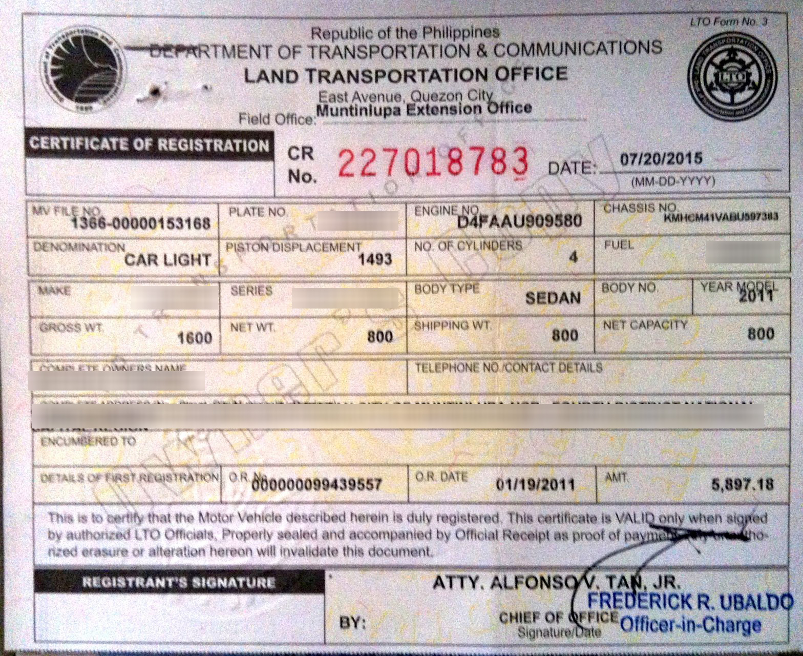 Certificate of Registration Car