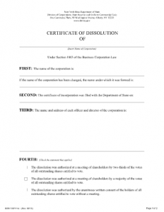 NYS Certificate of Dissolution