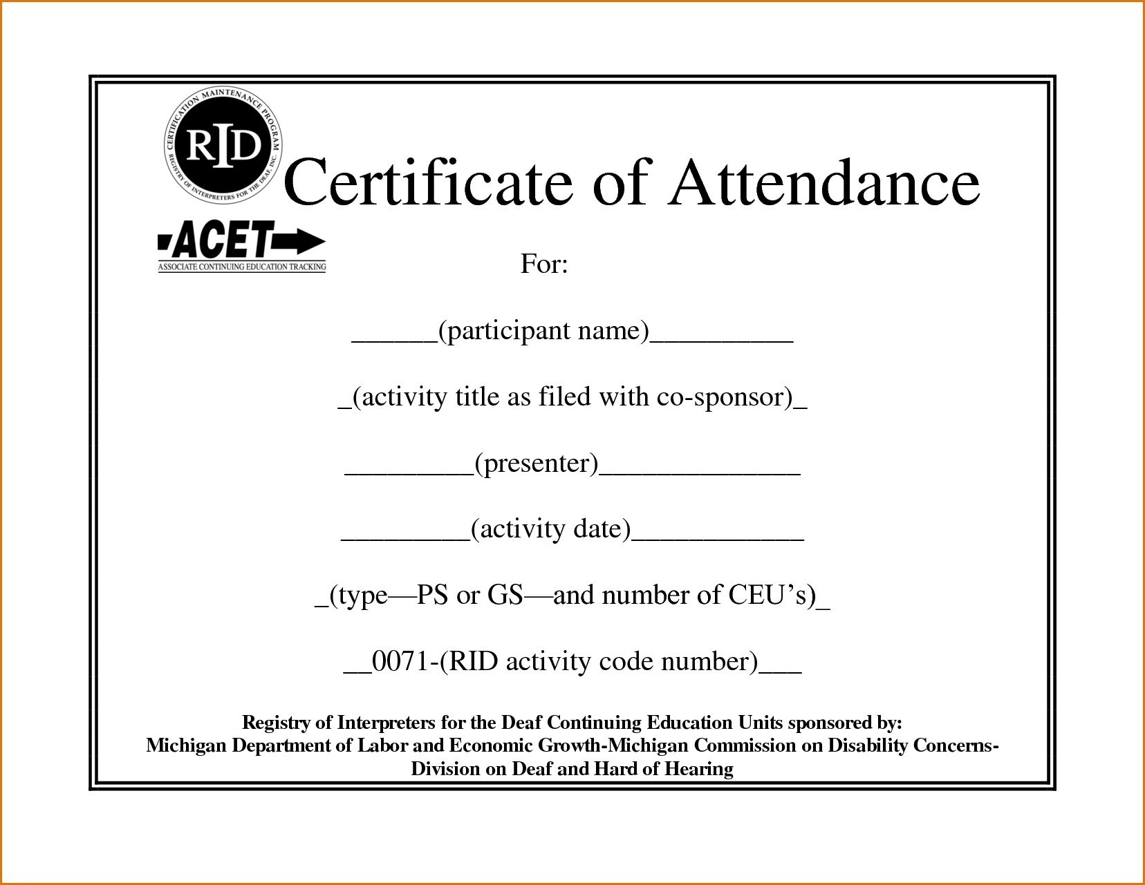 Certificate Of Attendance Template Certificate Of