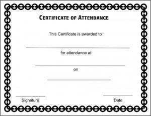 Sample Certificate of Attendance Format