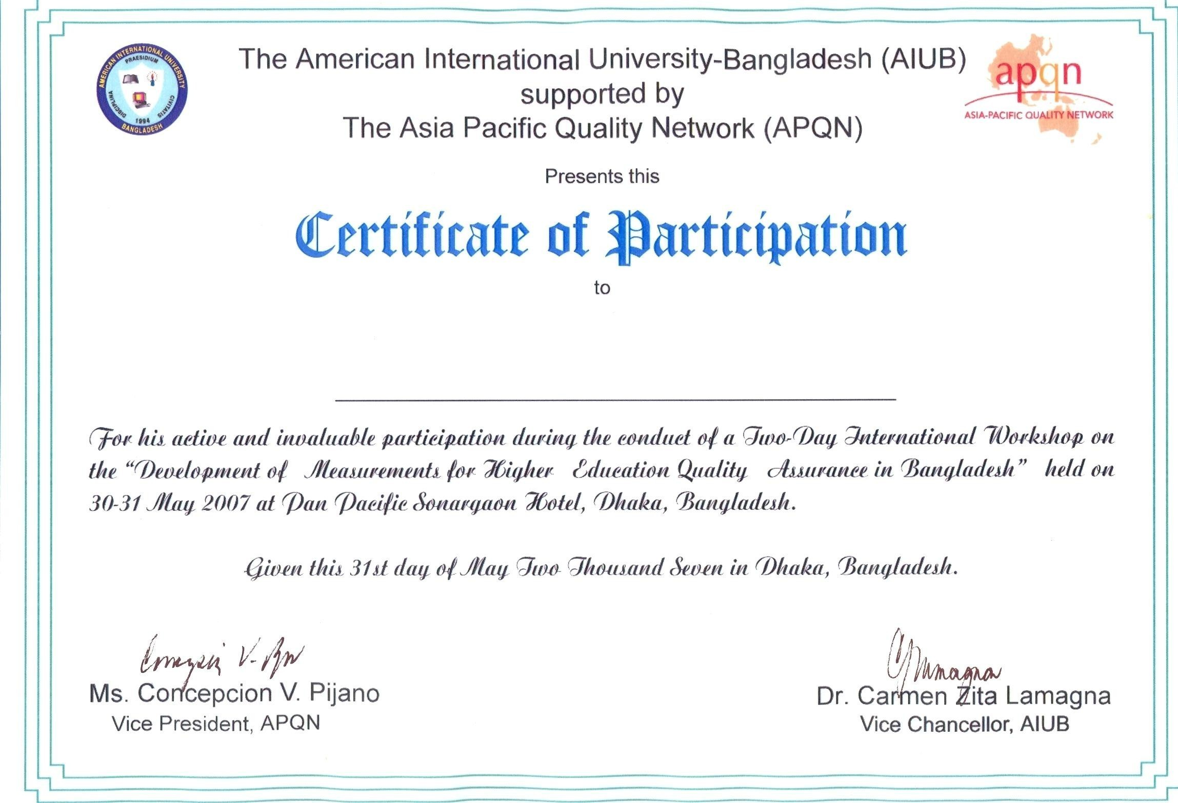 Certificate Of Participation Cop Certificate Of