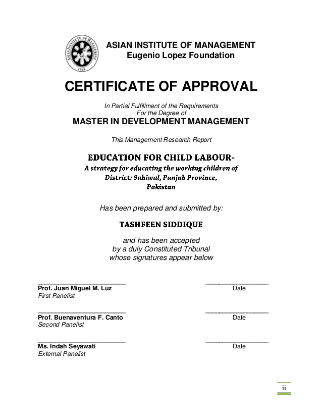 Certificate of Approval for the Sample