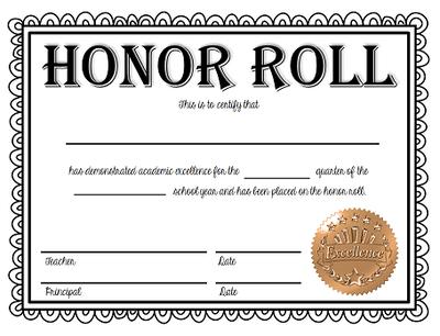 Certificate of HonorRoll