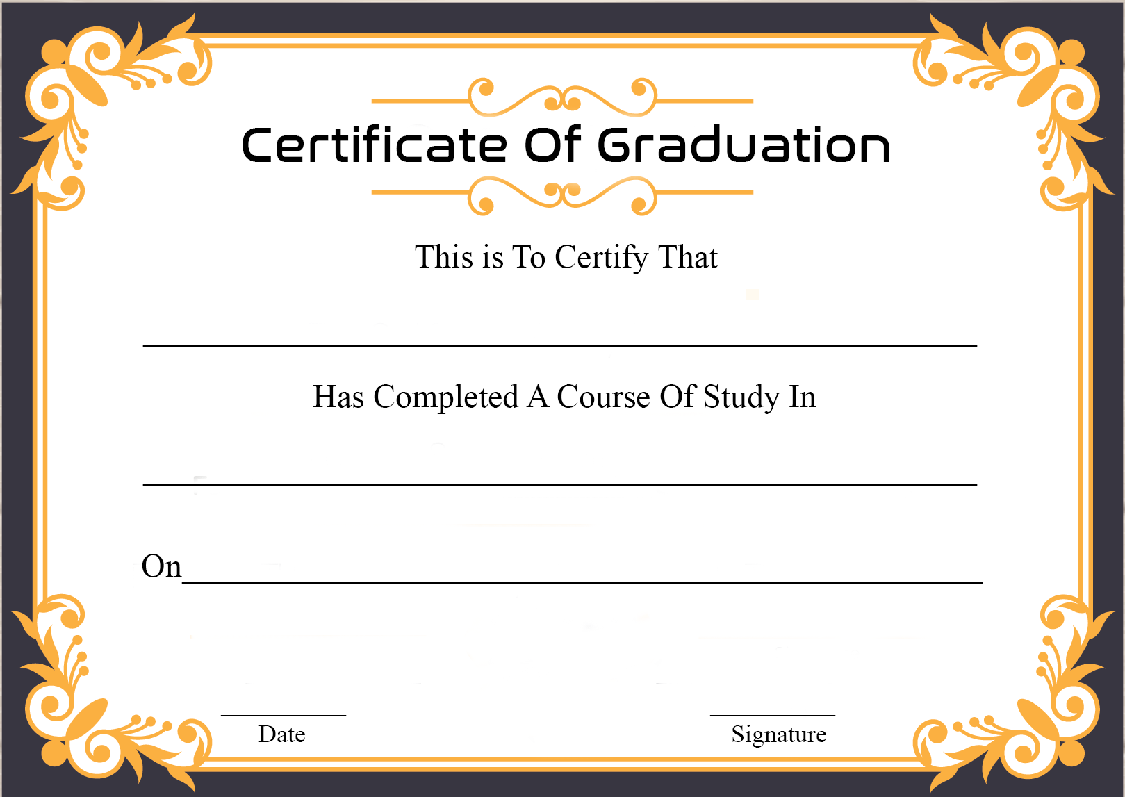 Certificate Of Graduation Sample