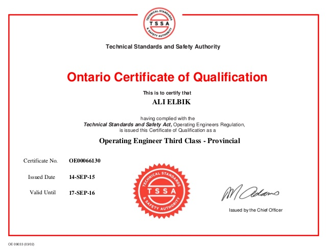 Certificate of Qualification Ontario