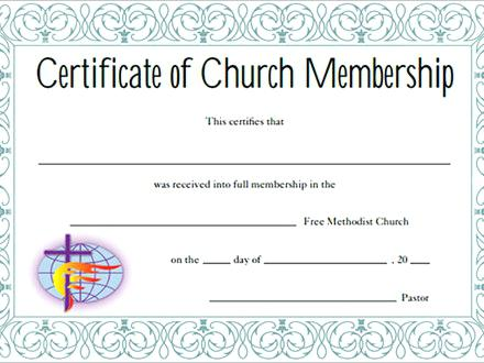 Certificate of Membership Church
