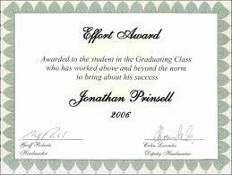Certificate of Award Wording