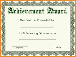 Certificate of Award Format
