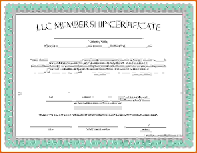 Certificate of Membership LLC