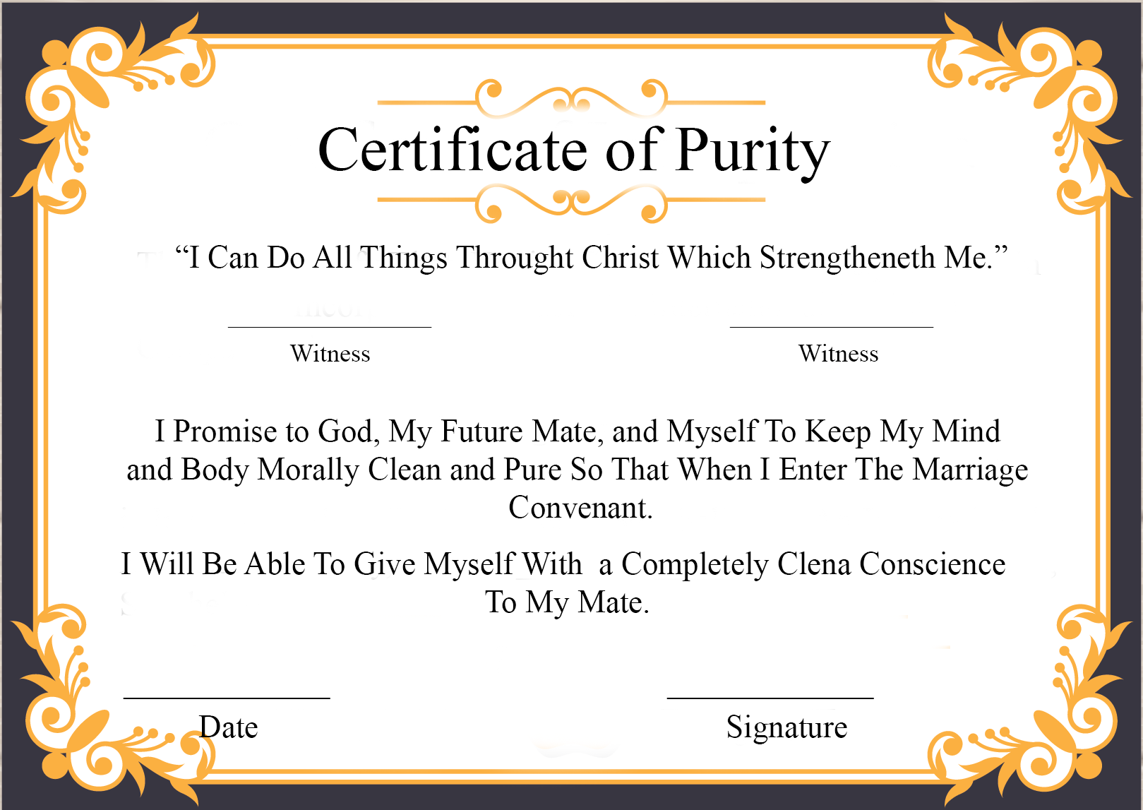 Certificate of Purity Sample