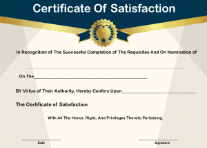 Certificate of Satisfaction Template