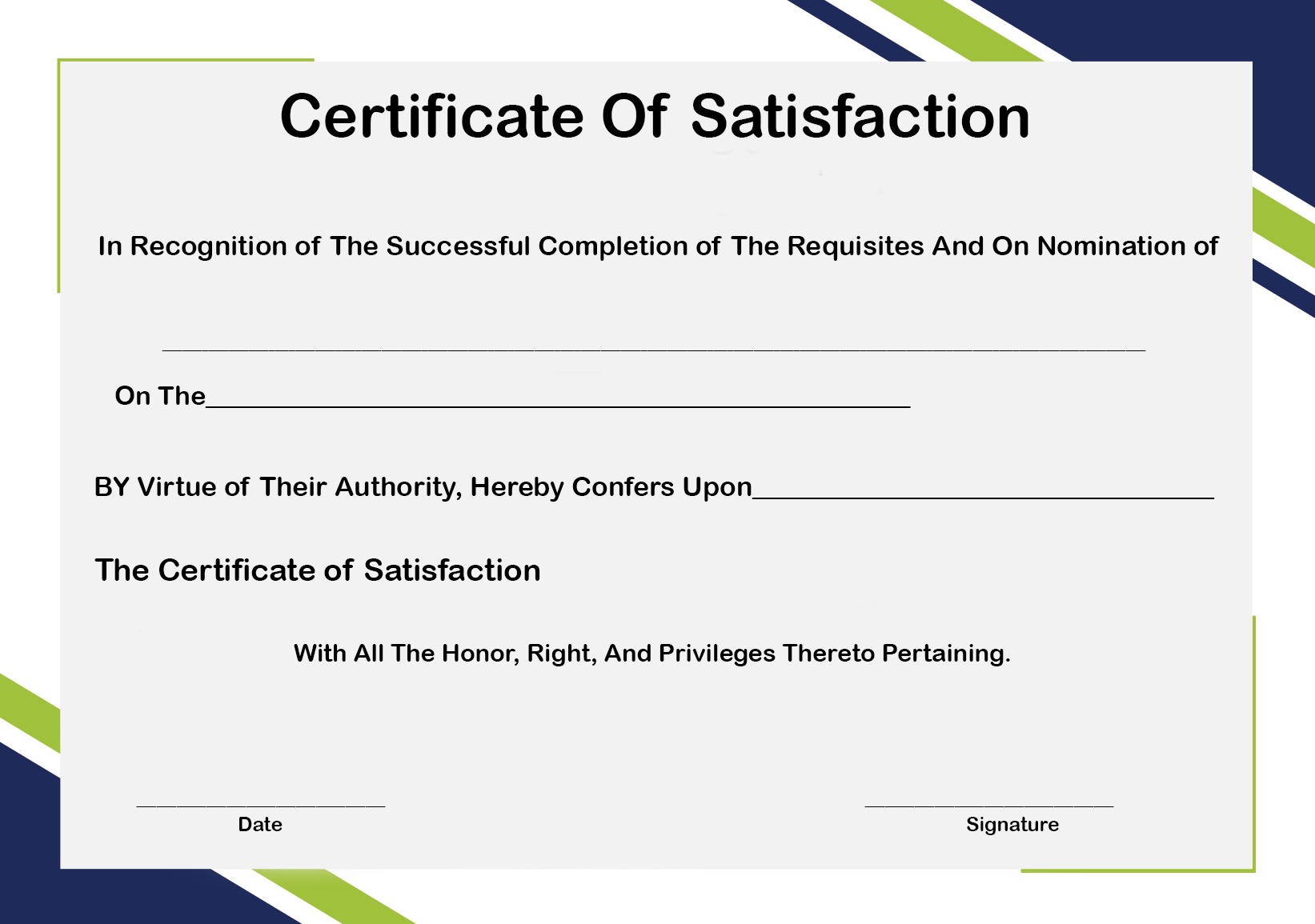 Certificate of Satisfaction Form