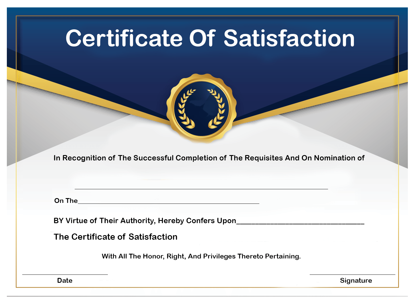 How to Get Certificate of Satisfaction?