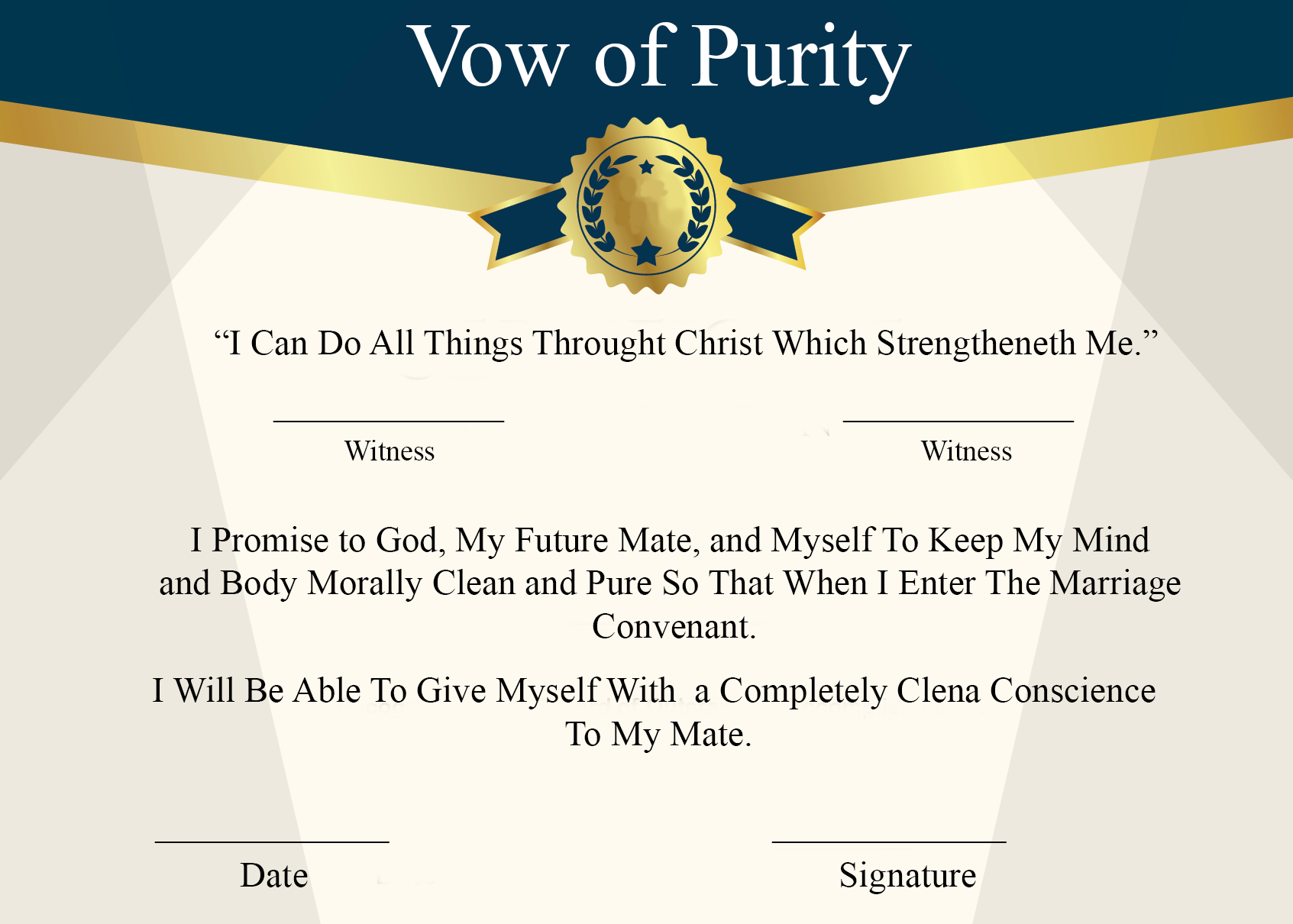 Vow of Purity Certificate