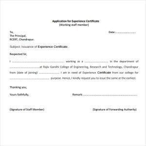 Certificate of Work Experience